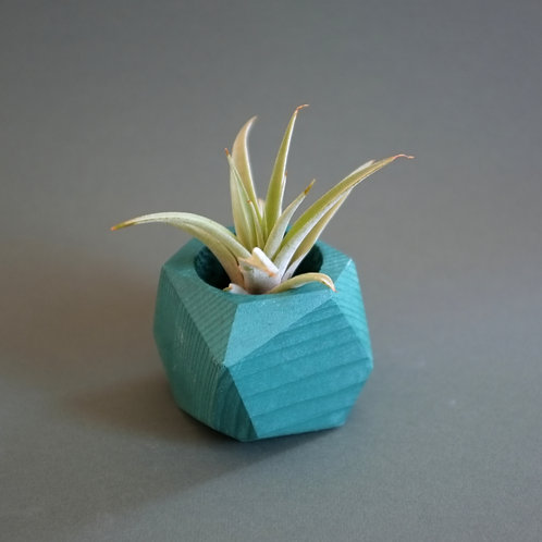 Forest green geometric planter, minimalistic vase, available standing or hanging