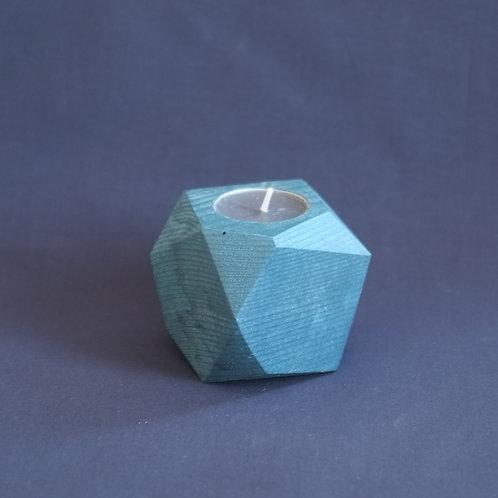Midnight blue geometric tea light holder, minimalistic candle holder