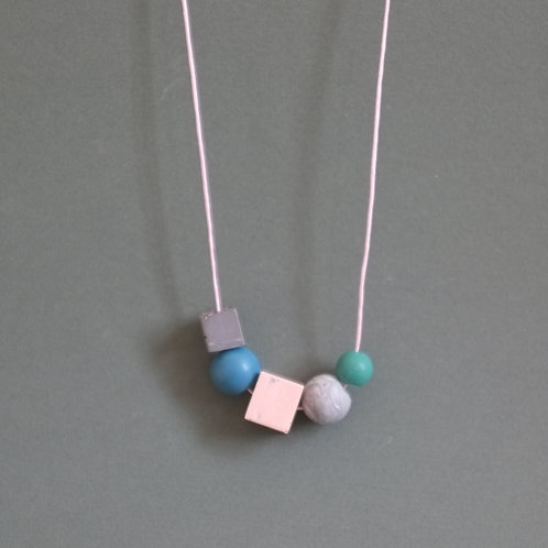 Geometric necklace, simple shapes, designed for every day wear