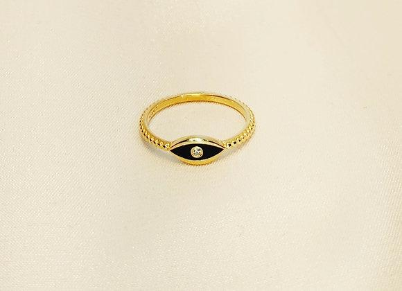 Bague or jaune , émail noir , diamant