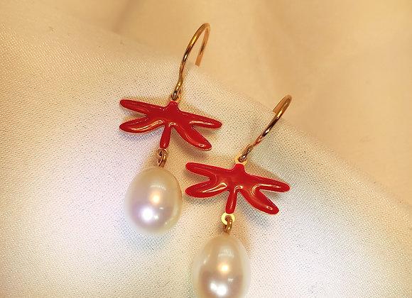 Libellule rouge & perles