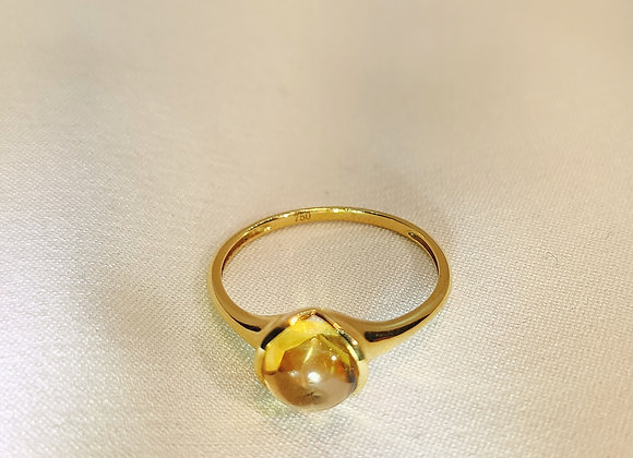 Bague en or ,citrine cabochon
