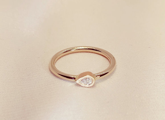 Bague bicolore diamant en poire