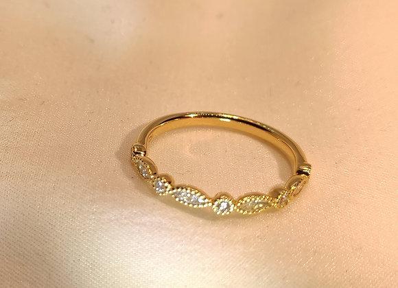Alliance en diamants navettes et ronds