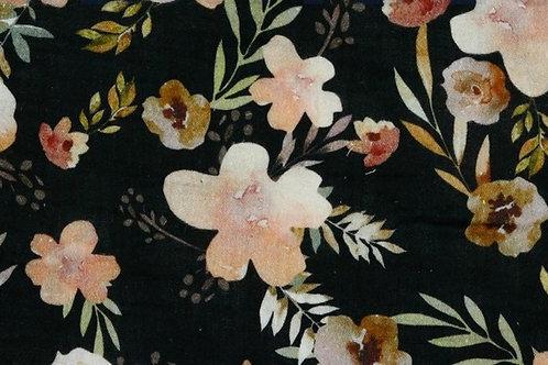 MUSSOLA DI COTONE GOTS - DIGITAL FLOWER BLACK
