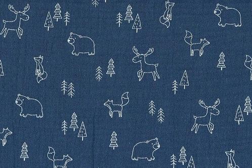 MUSSOLA DI COTONE GOTS - FOREST ANIMAL BLU JEANS