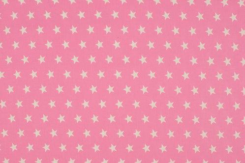 COTONE POPELIN - ROSA A STELLE