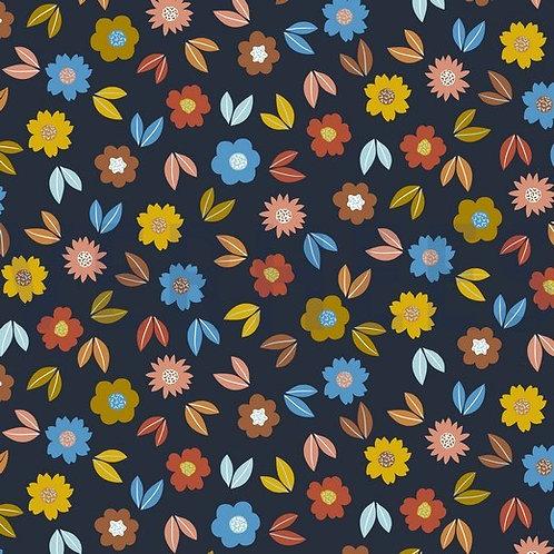 FELPA GARZATA DI COTONE - FLOWER NAVY
