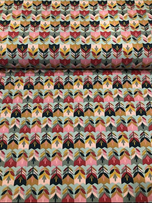 COTONE POPELIN - HAPPY TULIPS MENTA