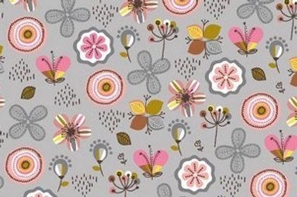 GOTS - FELPA INVERNALE FLOWER - GRIGIO