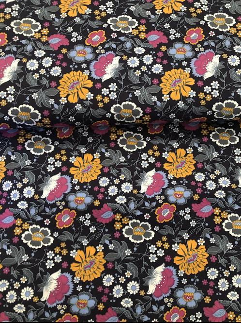 COTONE POPELIN - FLOWER DAISY BLU SCURO