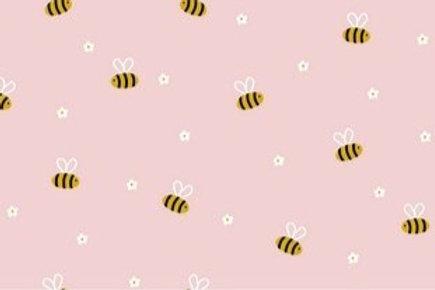 COTONE POPELIN BEE WHIT FLOWER ROSA