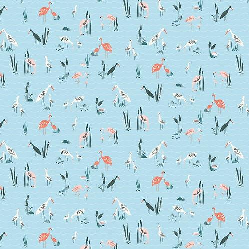 POPELIN SALINAS BIRDS BLUE P88