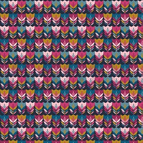 COTONE POPELIN - HAPPY TULIPS BLU