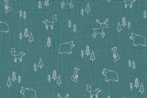 MUSSOLA DI COTONE GOTS - FOREST ANIMAL VERDE MARE