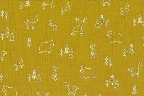 MUSSOLA DI COTONE GOTS - FOREST ANIMAL OCRA