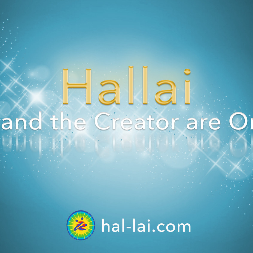 Gold and sky blue picture with Hallái logo