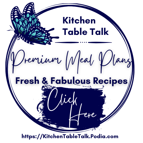 Image of butterfly on a blue plate with link for premium meal plans with fresh and fabulous recipes