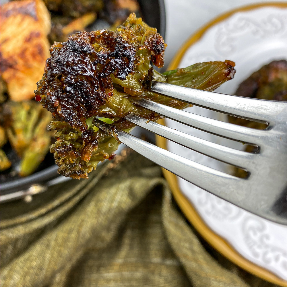 This is a cover image for a recipe for Chili Lime Mahi-Mahi with Blackened Broccoli from Eats and Journeys