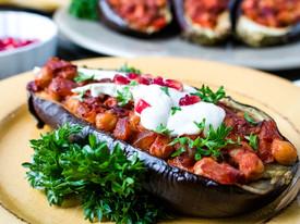 Stuffed Eggplants with Pomegranate & Tahini