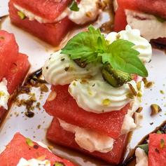 Watermelon, Whipped Feta & Basil Bites.p