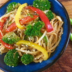 Spicy Peanut Rice Noodles with Broccoli