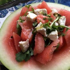 Watermelon Feta Salad with Lime-Cilantro
