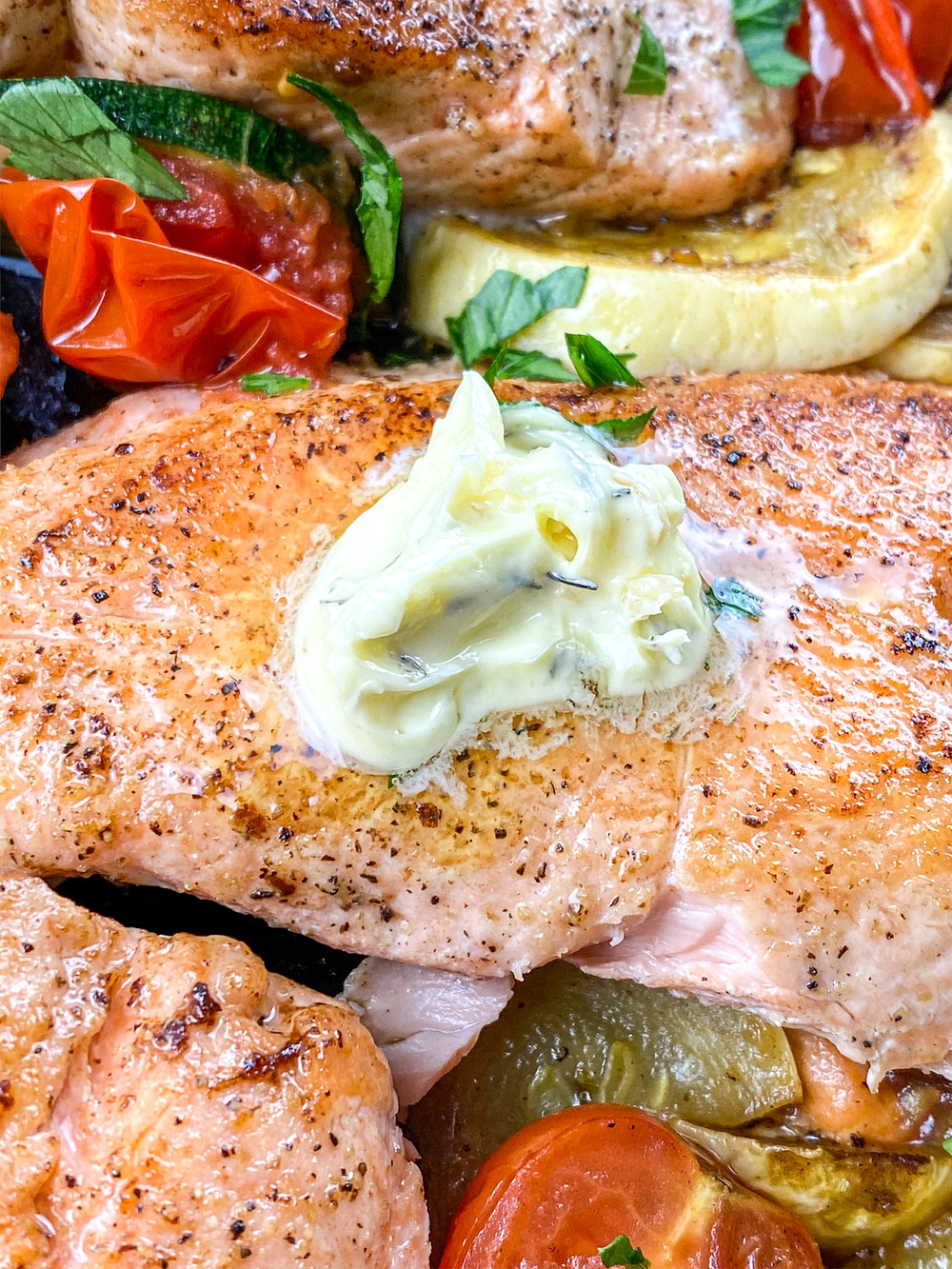 This is a cover image for a recipe for Crispy Salmon in Herb Butter from Eats and Journeys