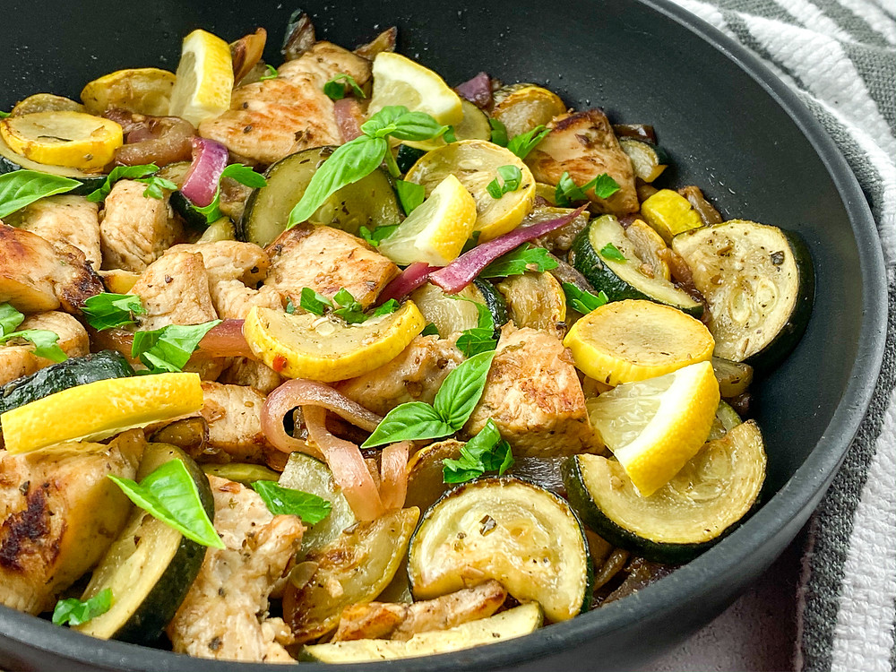 One-Skillet Lemon Chicken with Summer Squash, keto and low carb recipes