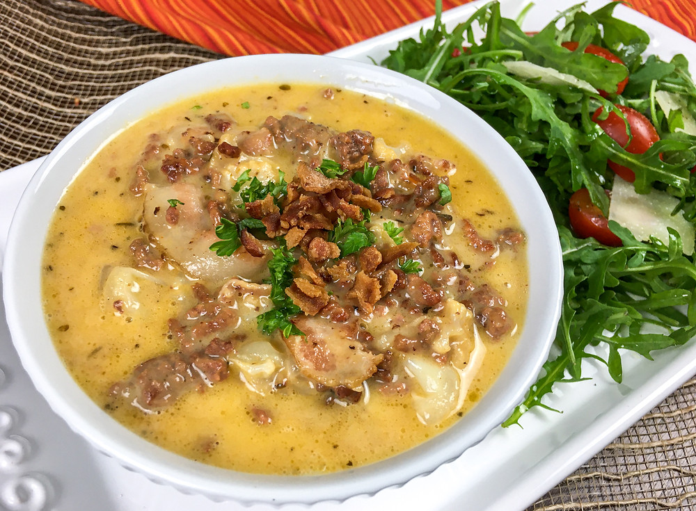 This is a cover image for a recipe for One Skillet Bacon Cheeseburger Soup from Eats and Journeys