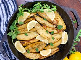 Cast Iron Skillet Greek-Style Lemon Potatoes