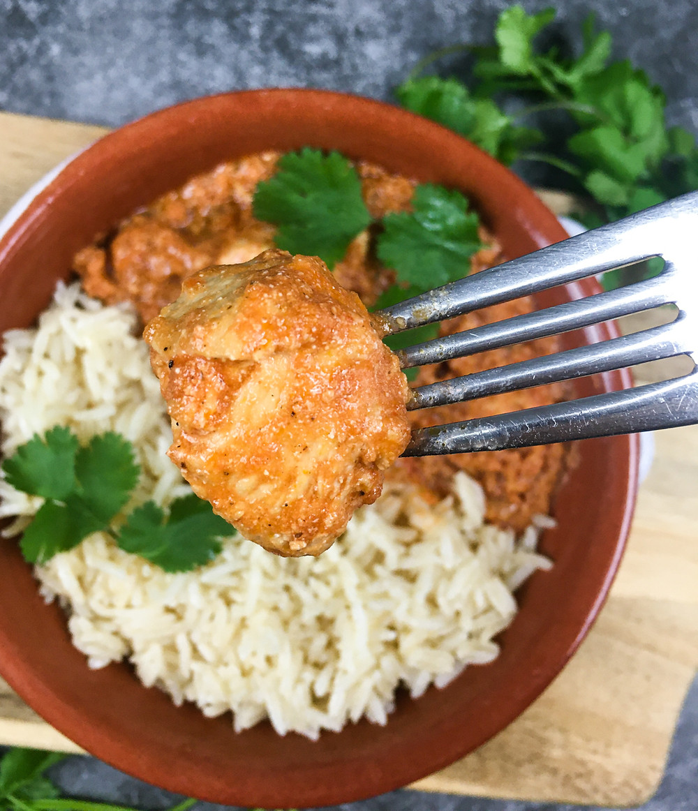 This is an image for a recipe for Instant Pot® Chicken Tikka Masala from Eats and Journeys