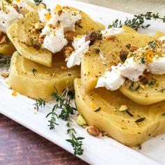 Souse Vide Golden Beet Salad with Goat C