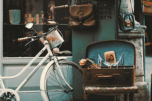 Vintage White Bicycle and Chest