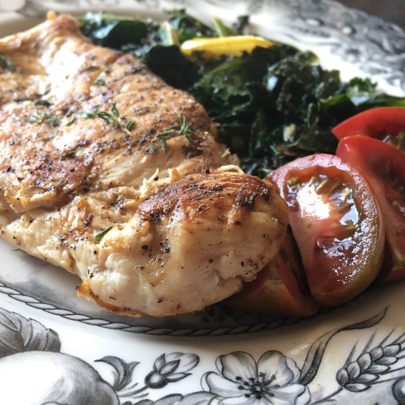 This is an image for Lemon Garlic Chicken with Sautéed Kale from Eats and Journeys