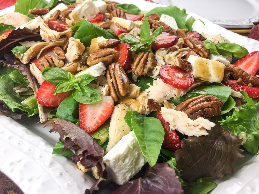 Instant Pot® Chicken Salad with Strawberries, Feta, & Pecans, clean and tasty recipe