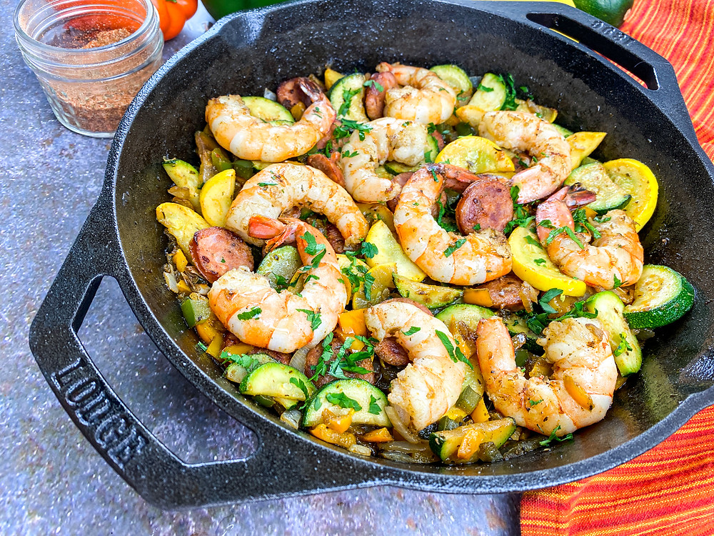 Cajun Shrimp & Vegetable Skllet