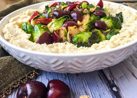 Roasted Apple Cauliflower Mash with Crispy Brussels Sprouts