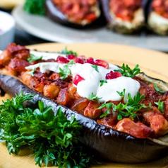 Stuffed Eggplants with Pomegranate & Tah