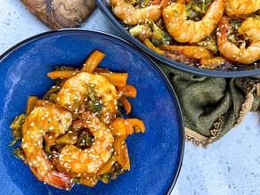Spicy Honey Garlic Shrimp & Broccoli Skillet