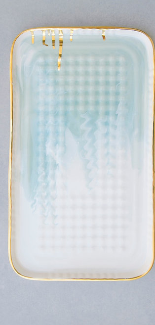 Serving Tray / White-Aqua Swirl + Gold