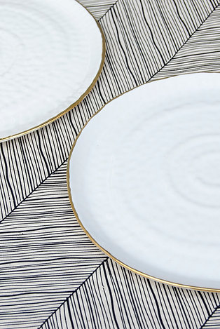 Dessert Plate / White + Gold (2 count)