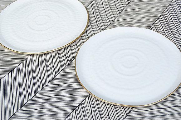 Dessert Plate / White + Gold (2 count)