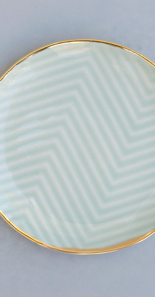 Chevron Jewelry Dish / Mint + Gold