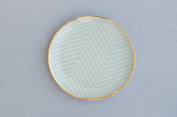 Chevron Jewelry Dish / Mint + Gold