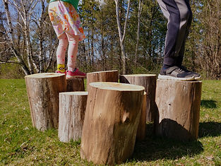 Children in Nature playing on wood logs. Farm and Nature School