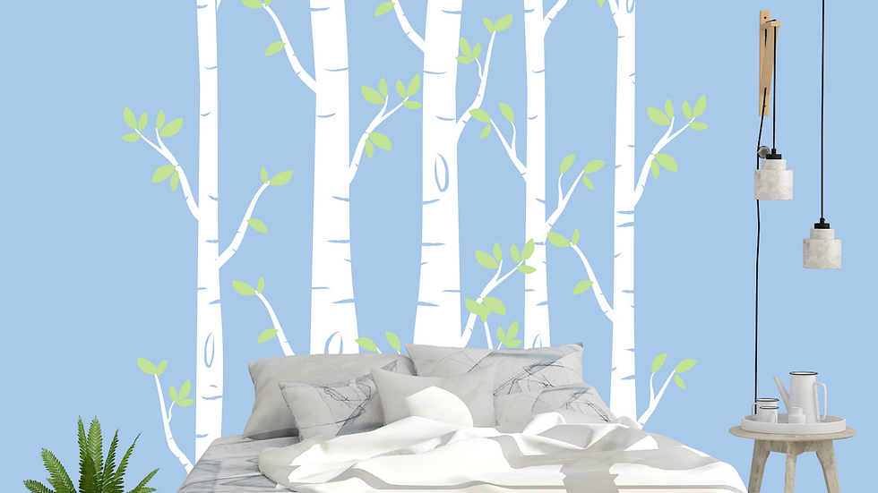 White Birch Trees with Leaves