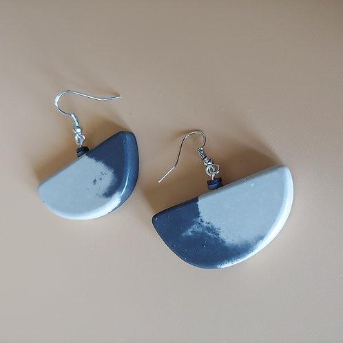 cement semi earrings: shadow