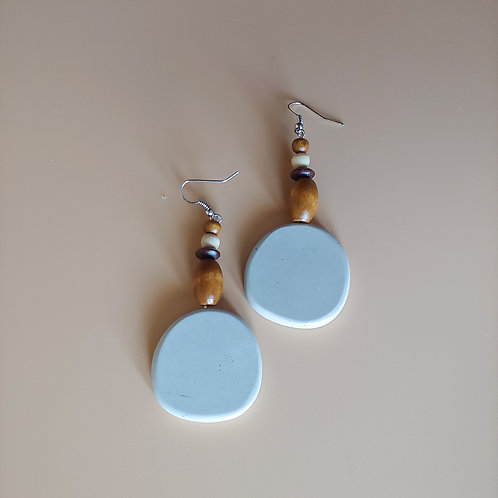 cement round earrings: wood