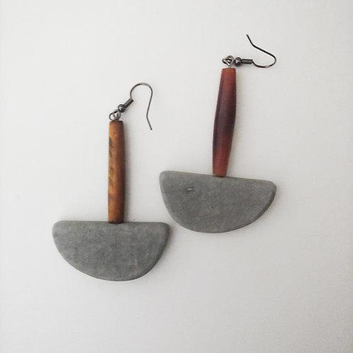 cement semi earrings: buffalo horn